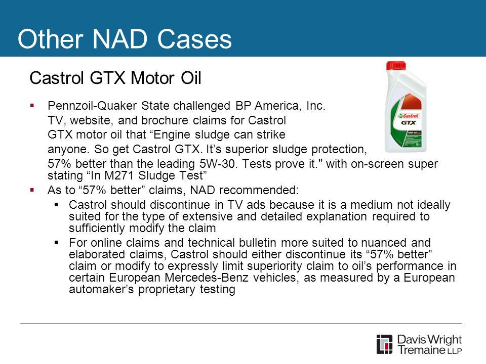 Castrol GTX Motor Oil  Pennzoil-Quaker State challenged BP America, Inc.