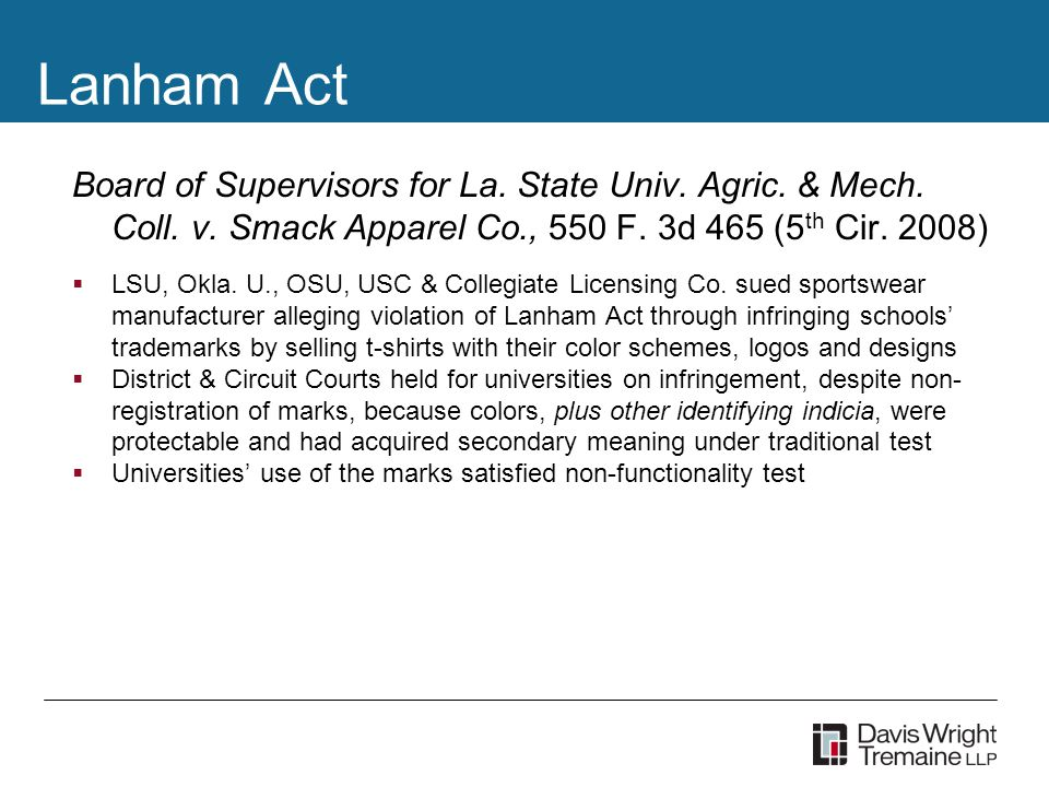 Lanham Act Board of Supervisors for La. State Univ.