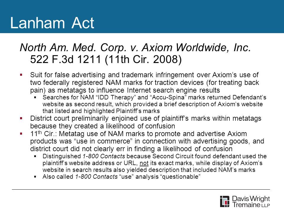 Lanham Act North Am. Med. Corp. v. Axiom Worldwide, Inc.