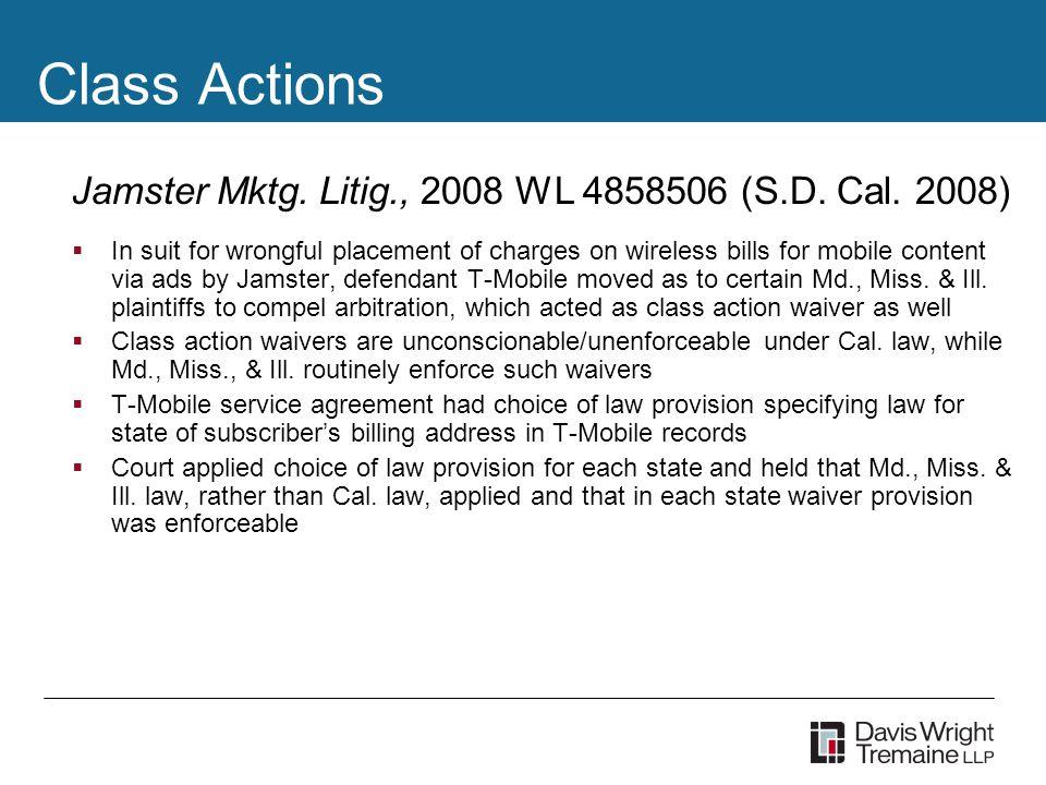 Class Actions Jamster Mktg. Litig., 2008 WL 4858506 (S.D.