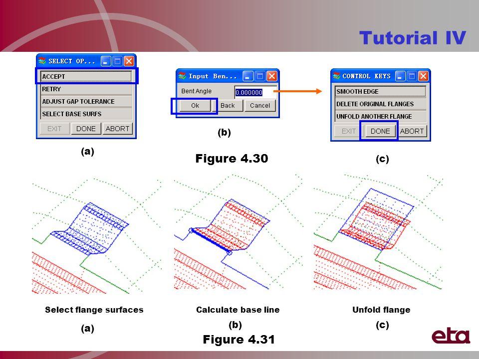 Tutorial IV (a) (b) Figure 4.30 (c) Select flange surfacesUnfold flangeCalculate base line (a) (b)(c) Figure 4.31