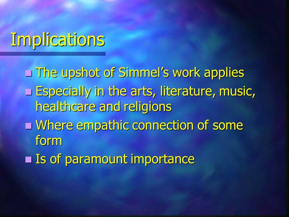 Simmel Georg Simmel [1858-1918 ] Georg Simmel [1858-1918 ] Who stressed empathy Who stressed empathy Which allows us Which allows us To engage with To engage with Each other and Each other and Reality Reality
