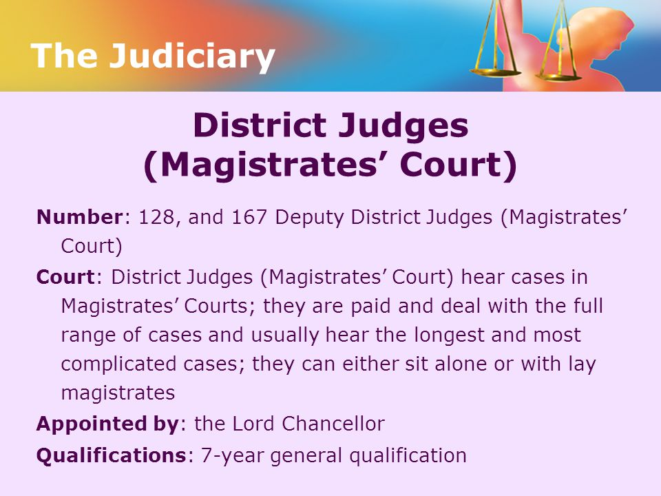 District Judges (Magistrates' Court) Number: 128, and 167 Deputy District Judges (Magistrates' Court) Court: District Judges (Magistrates' Court) hear