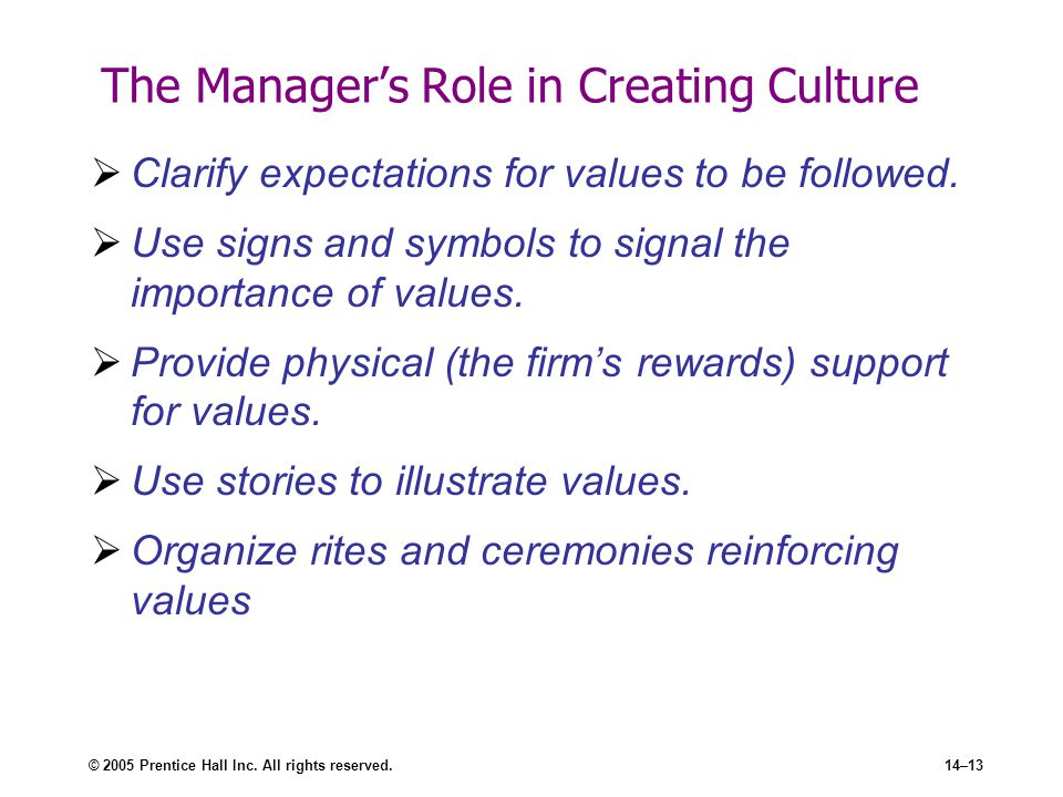 © 2005 Prentice Hall Inc. All rights reserved.14–13 The Manager's Role in Creating Culture  Clarify expectations for values to be followed.  Use sig