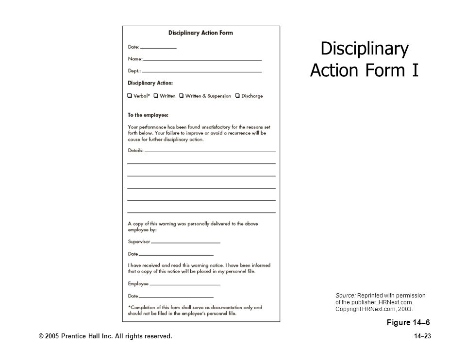 © 2005 Prentice Hall Inc. All rights reserved.14–23 Disciplinary Action Form I Figure 14–6 Source: Reprinted with permission of the publisher, HRNext.