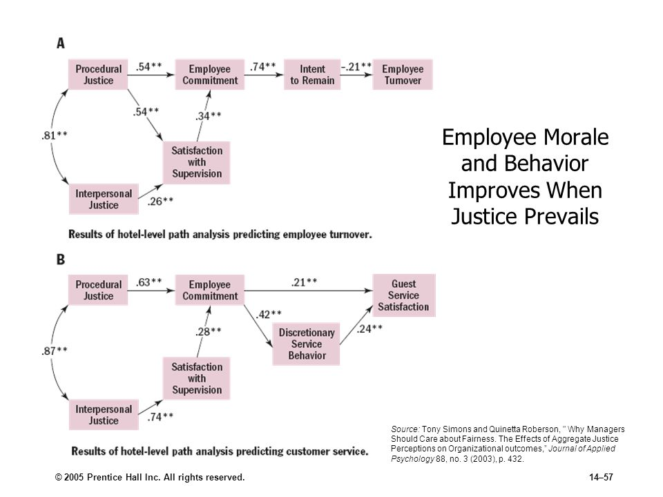 © 2005 Prentice Hall Inc. All rights reserved.14–57 Employee Morale and Behavior Improves When Justice Prevails Source: Tony Simons and Quinetta Rober