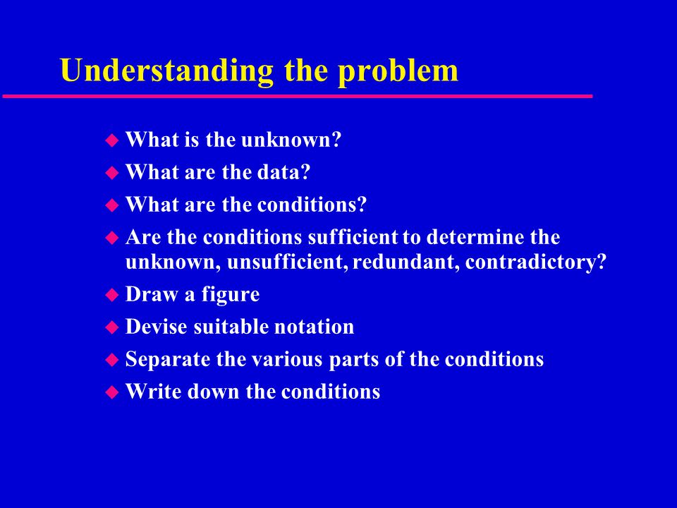 Understanding the problem u What is the unknown. u What are the data.