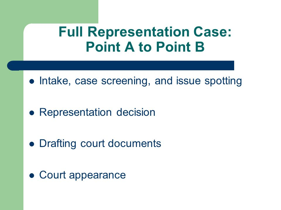 Full Representation Case: Point A to Point B Intake, case screening, and issue spotting Representation decision Drafting court documents Court appearance