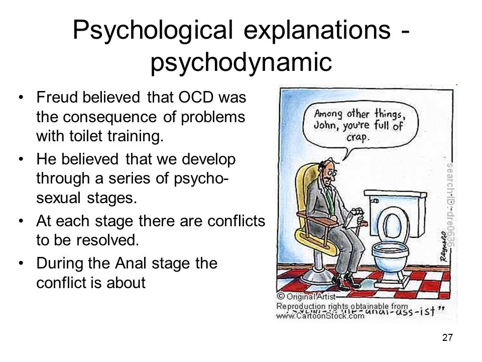 27 Psychological explanations - psychodynamic Freud believed that OCD was the consequence of problems with toilet training. He believed that we develo