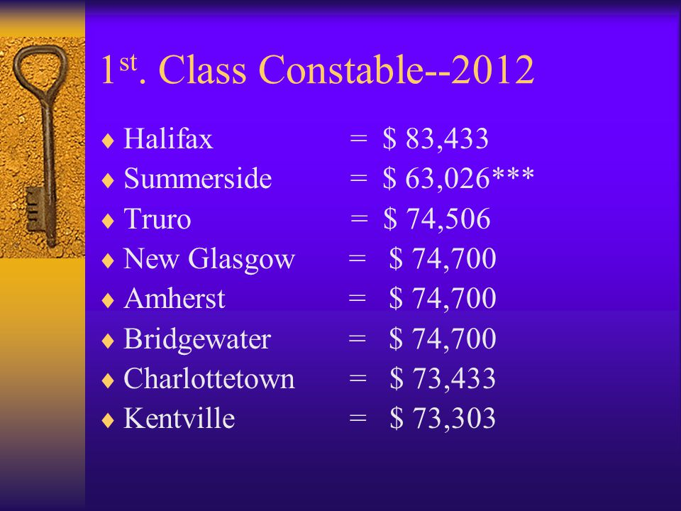 1 st.Class Constable –2012--RNC  RNC = $ 75,668  Long Service Pay at 10-15-20-25 years  Increases Pay by 3%6%9%12%