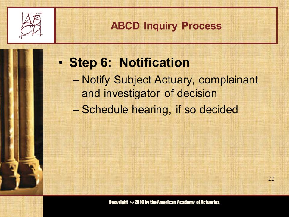 Copyright © 2009 by the Actuarial Board for Counseling and Discipline Copyright © 2010 by the American Academy of Actuaries ABCD Inquiry Process Step 6: Notification –Notify Subject Actuary, complainant and investigator of decision –Schedule hearing, if so decided 22
