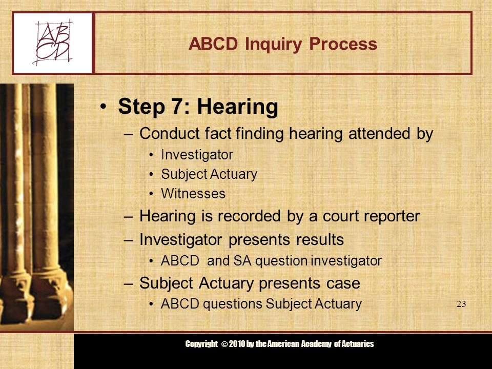 Copyright © 2009 by the Actuarial Board for Counseling and Discipline Copyright © 2010 by the American Academy of Actuaries ABCD Inquiry Process Step 7: Hearing –Conduct fact finding hearing attended by Investigator Subject Actuary Witnesses –Hearing is recorded by a court reporter –Investigator presents results ABCD and SA question investigator –Subject Actuary presents case ABCD questions Subject Actuary 23