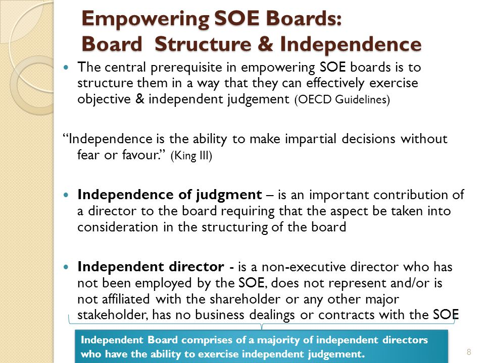 What are the Impediments to Independence of SOE Boards? 9