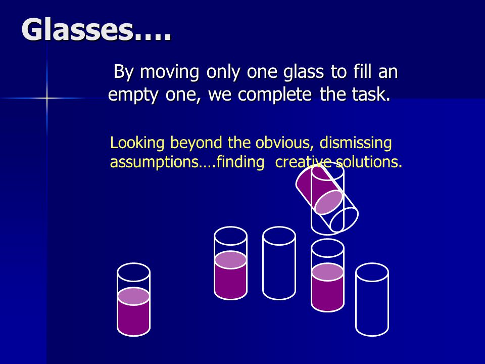 Glasses…. By moving only one glass to fill an empty one, we complete the task.