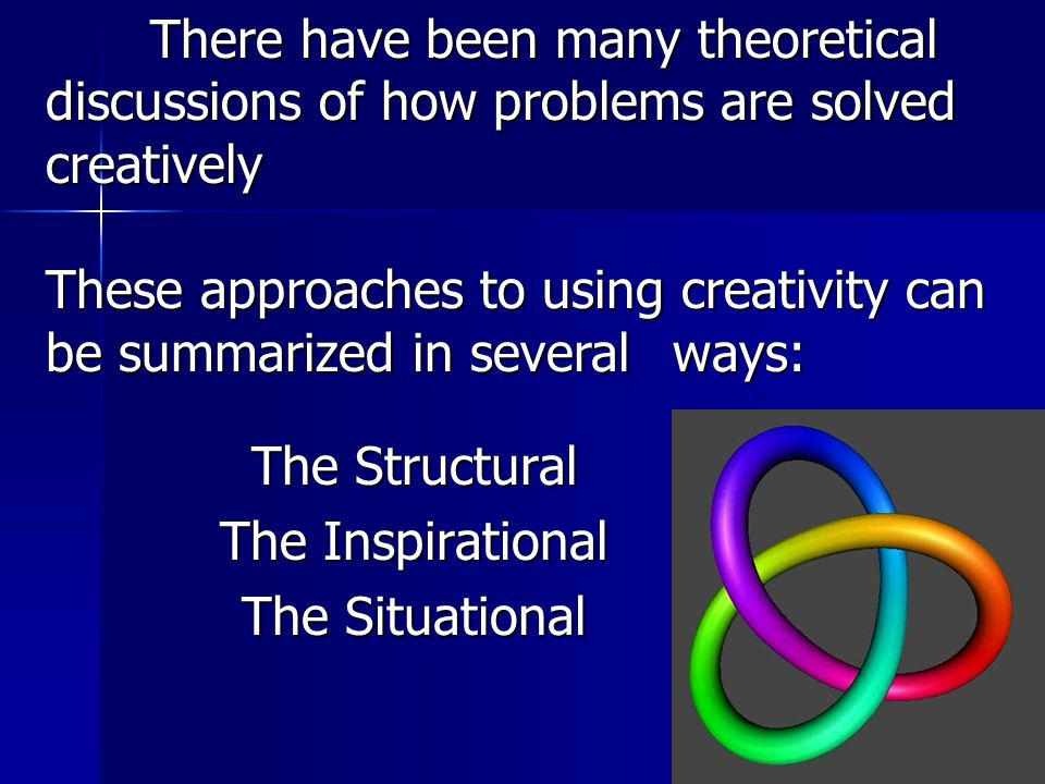 The Structural The Structural The Inspirational The Situational There have been many theoretical discussions of how problems are solved creatively These approaches to using creativity can be summarized in several ways: