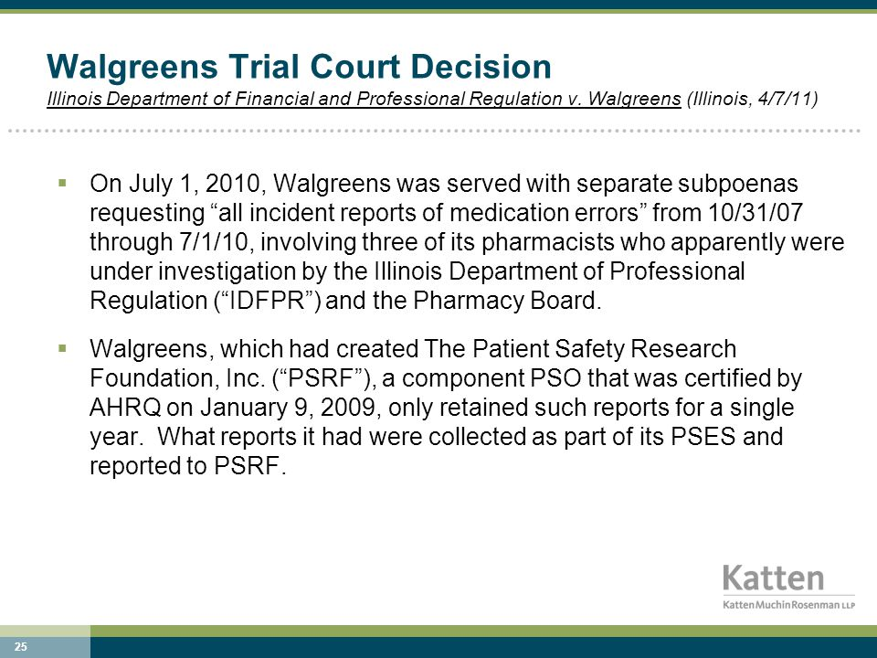 25 Walgreens Trial Court Decision Illinois Department of Financial and Professional Regulation v.
