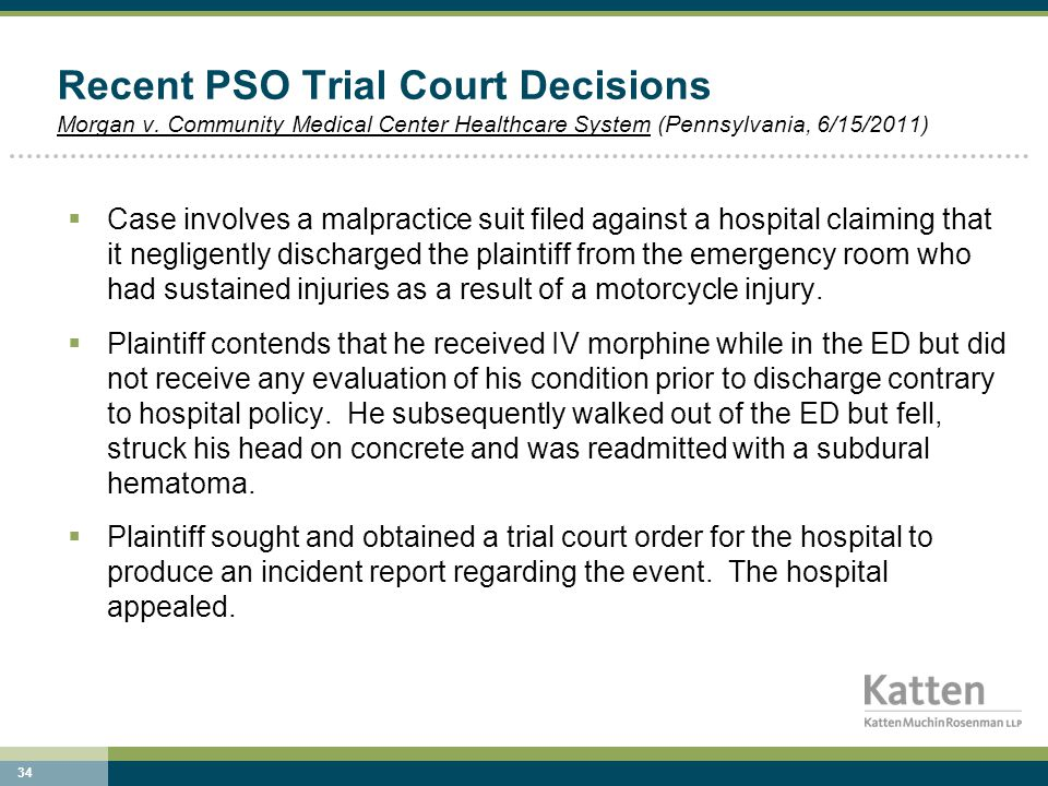 34 Recent PSO Trial Court Decisions Morgan v.
