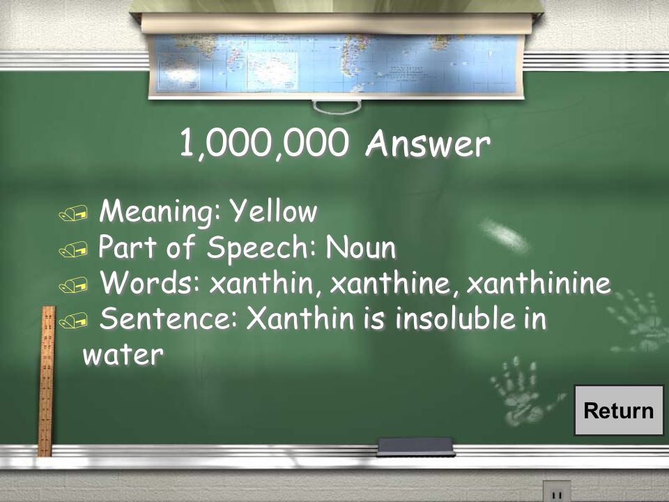 1,000,000 Stems Question Xanthin / What is the meaning.