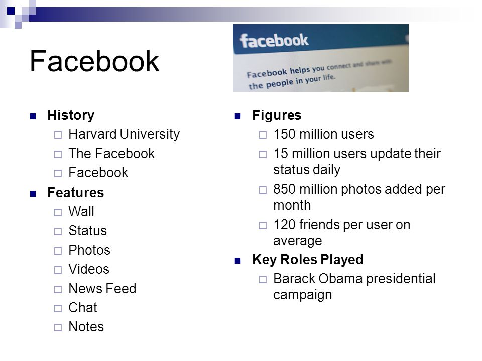 Facebook History  Harvard University  The Facebook  Facebook Features  Wall  Status  Photos  Videos  News Feed  Chat  Notes Figures  150 million users  15 million users update their status daily  850 million photos added per month  120 friends per user on average Key Roles Played  Barack Obama presidential campaign