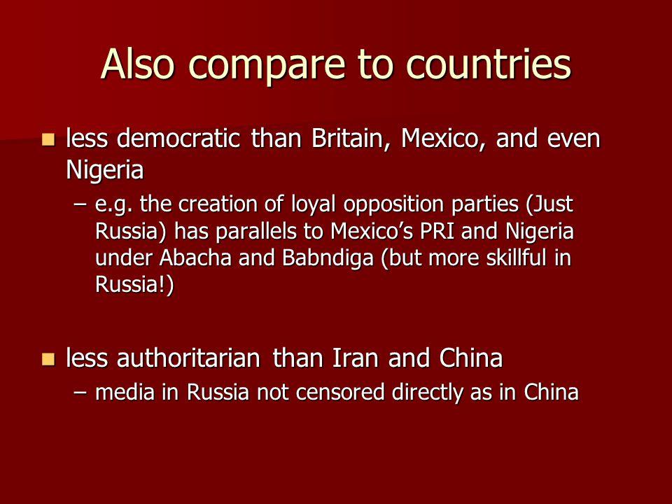 Also compare to countries less democratic than Britain, Mexico, and even Nigeria less democratic than Britain, Mexico, and even Nigeria –e.g.