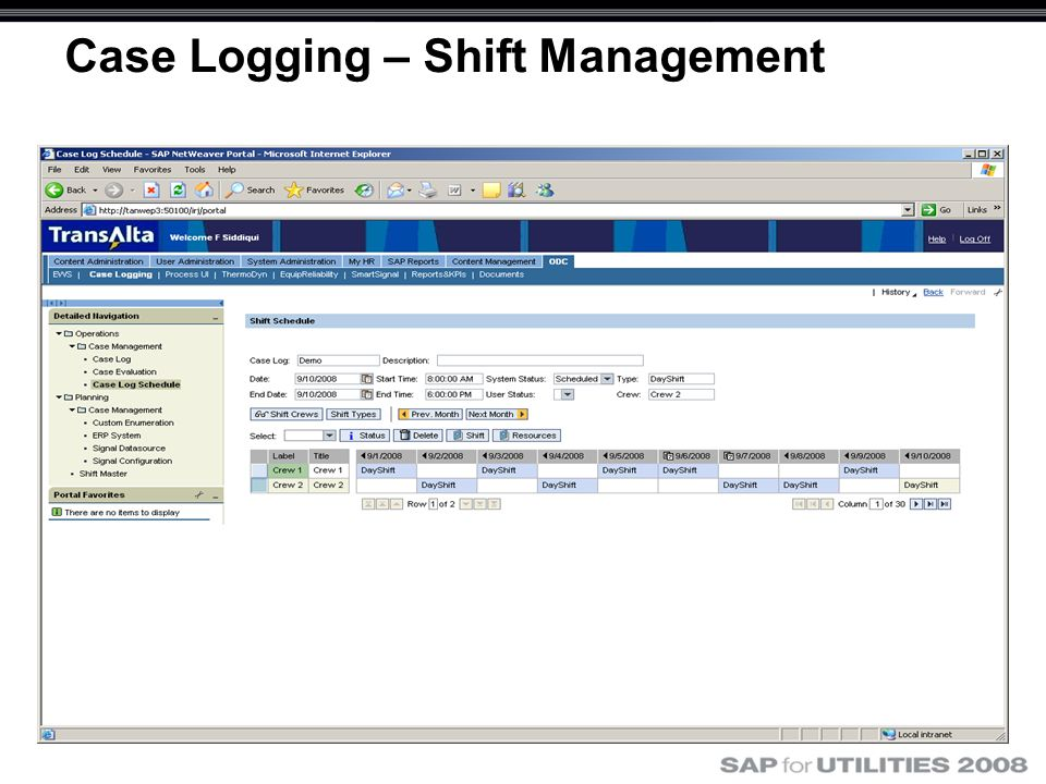 Case Logging – Shift Management