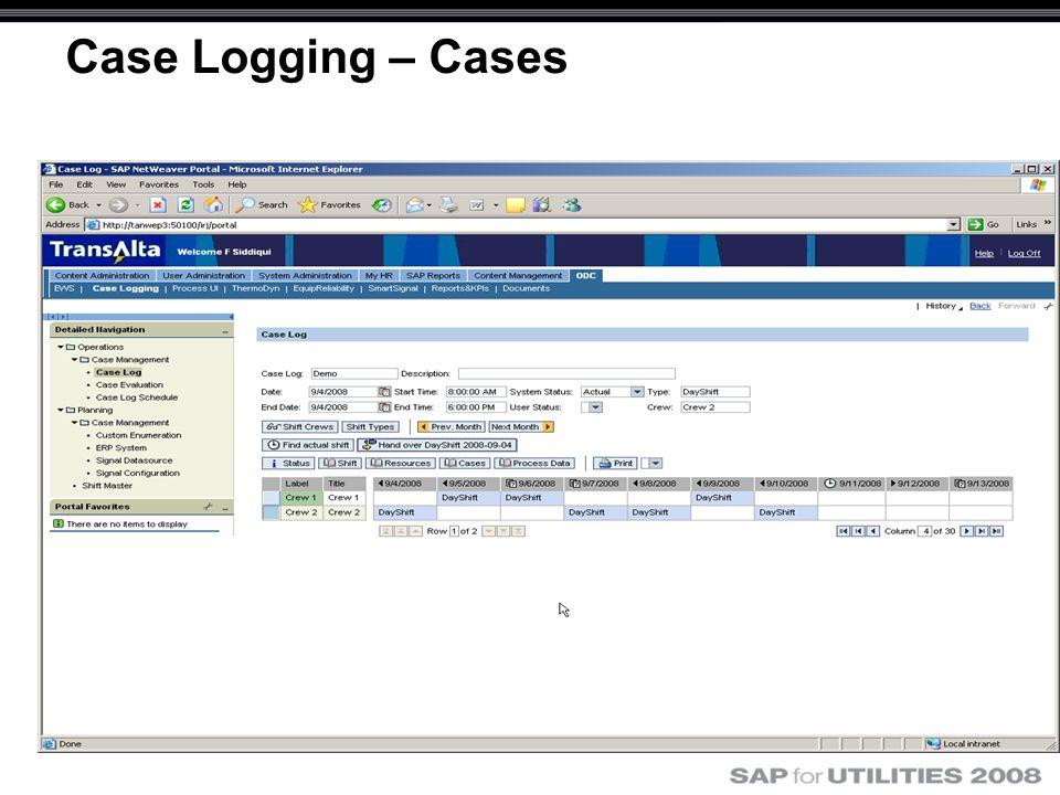 Case Logging – Cases