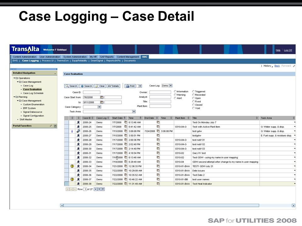 Case Logging – Case Detail