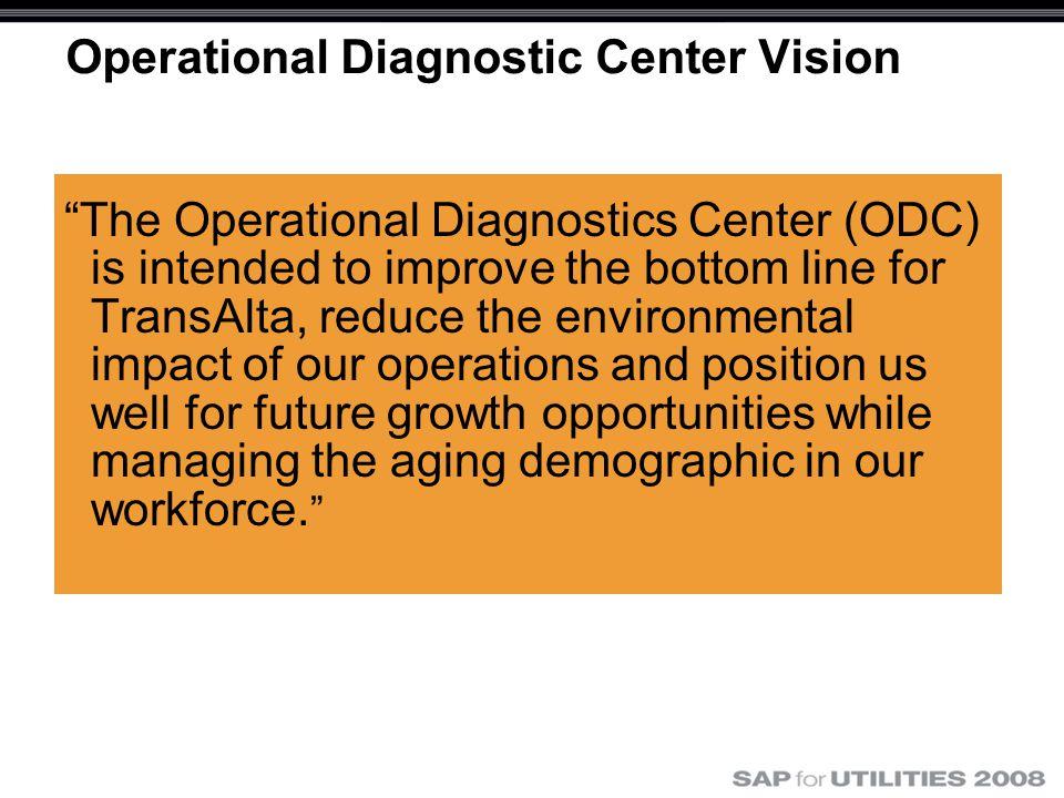 "Operational Diagnostic Center Vision ""The Operational Diagnostics Center (ODC) is intended to improve the bottom line for TransAlta, reduce the enviro"