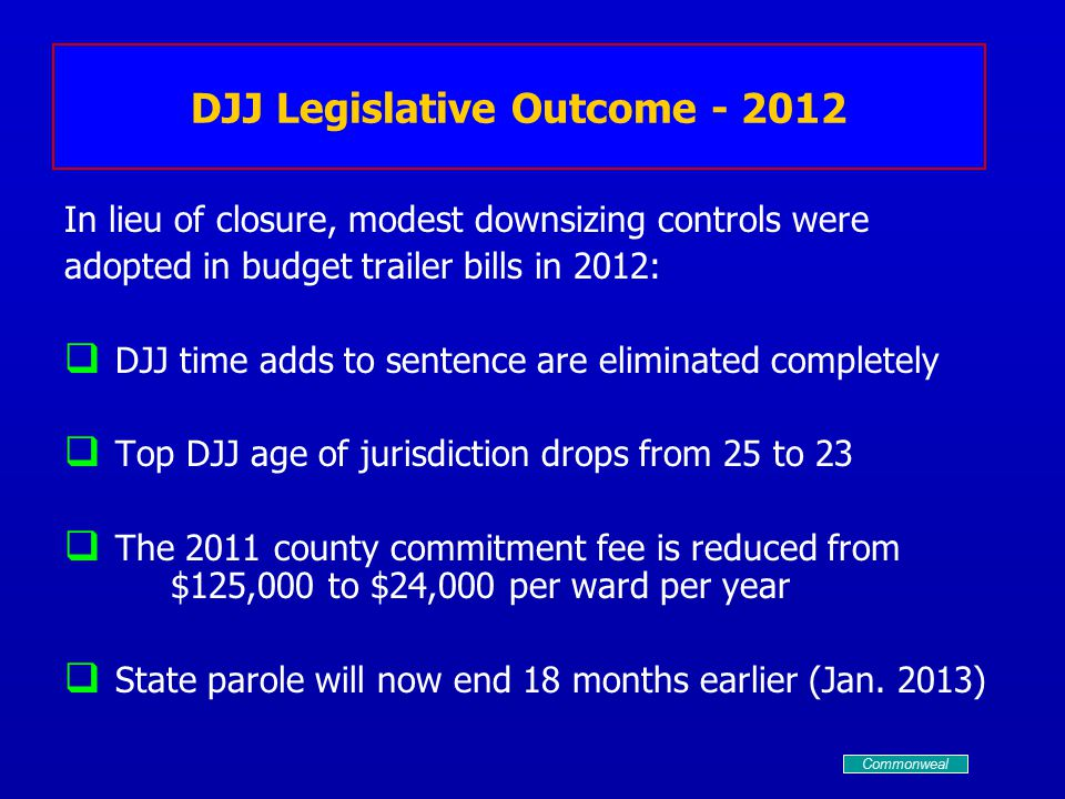 DJJ Legislative Outcome - 2012 In lieu of closure, modest downsizing controls were adopted in budget trailer bills in 2012:   DJJ time adds to sentence are eliminated completely   Top DJJ age of jurisdiction drops from 25 to 23   The 2011 county commitment fee is reduced from $125,000 to $24,000 per ward per year   State parole will now end 18 months earlier (Jan.