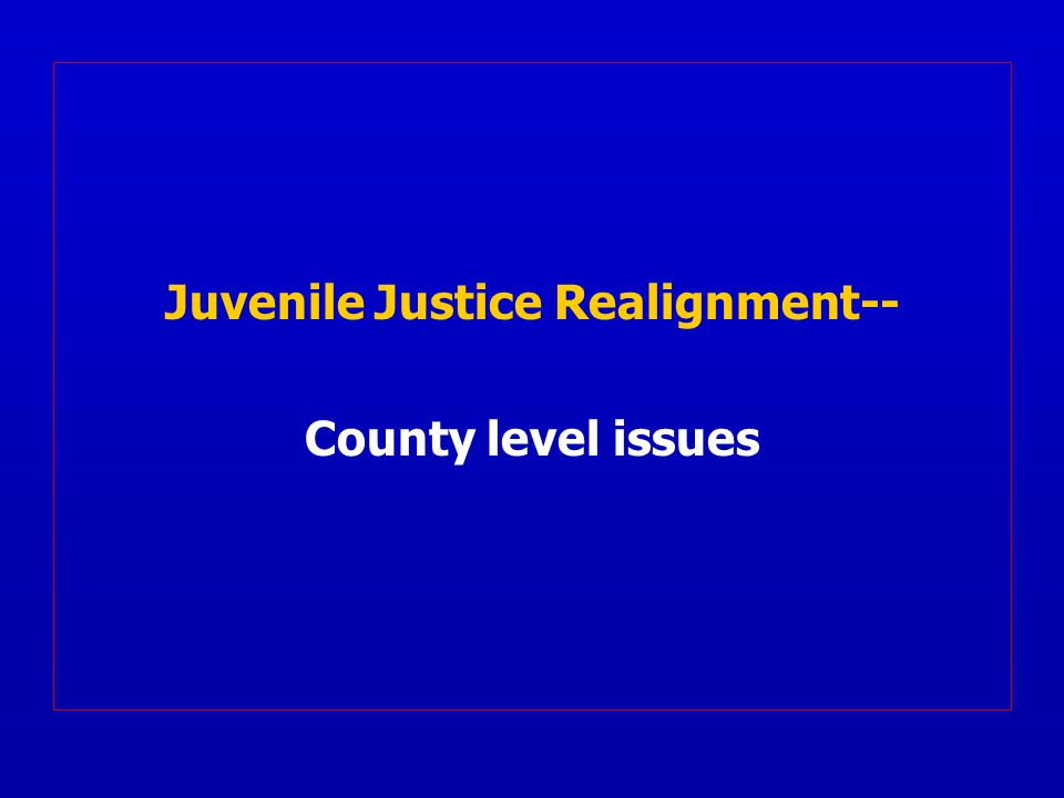 Juvenile Justice Realignment-- County level issues