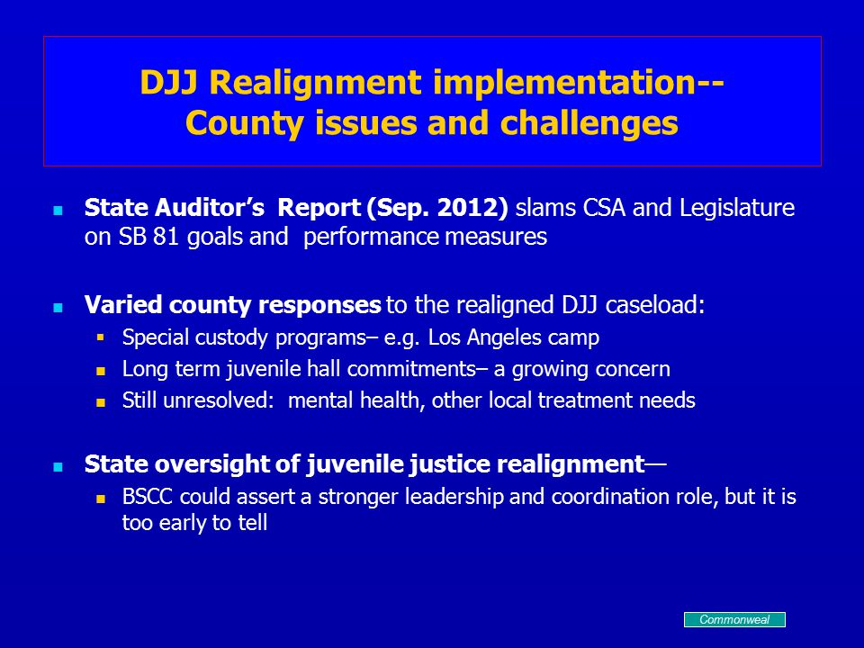 DJJ Realignment implementation-- County issues and challenges State Auditor's Report (Sep.