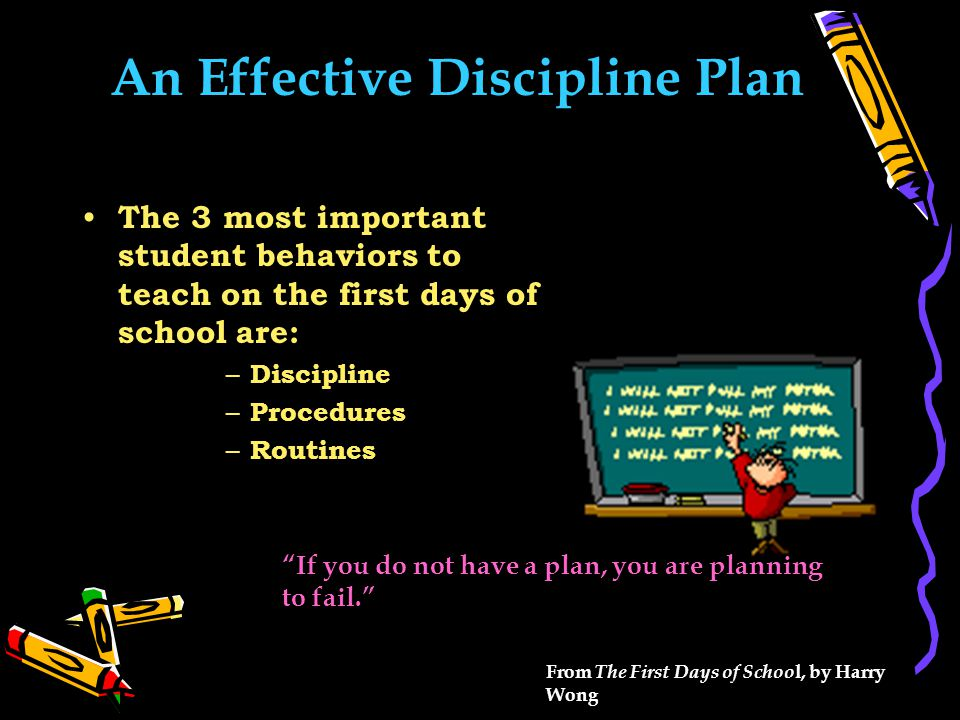An Effective Discipline Plan The 3 most important student behaviors to teach on the first days of school are: – Discipline – Procedures – Routines If you do not have a plan, you are planning to fail. From The First Days of Schoo l, by Harry Wong