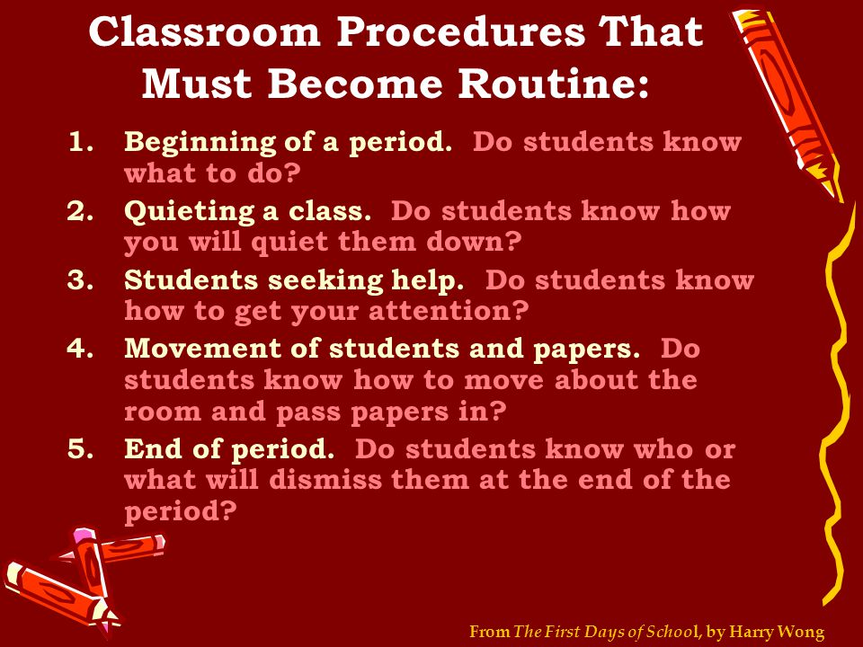 Classroom Procedures That Must Become Routine: 1.Beginning of a period.