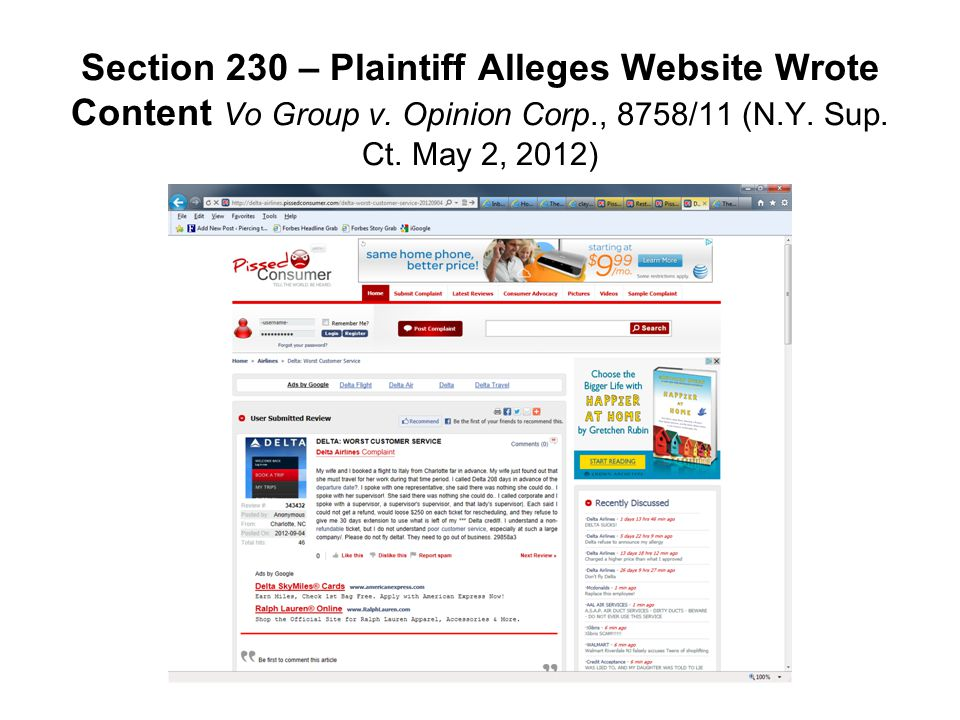 Section 230 – Plaintiff Alleges Website Wrote Content Vo Group v. Opinion Corp., 8758/11 (N.Y. Sup. Ct. May 2, 2012)