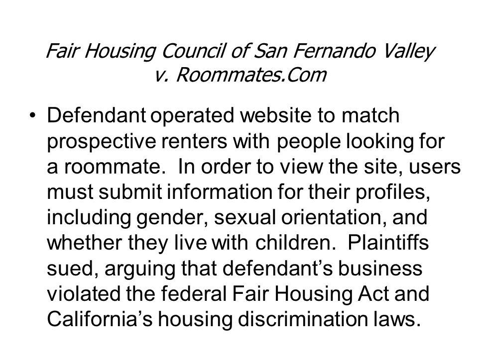 Fair Housing Council of San Fernando Valley v. Roommates.Com