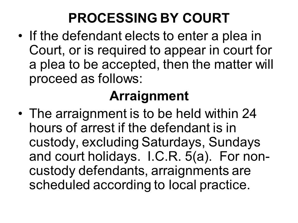 PROCESSING BY COURT If the defendant elects to enter a plea in Court, or is required to appear in court for a plea to be accepted, then the matter wil