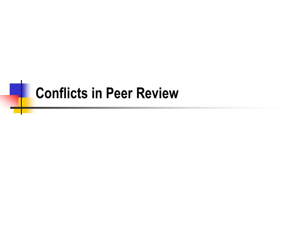 Conflicts in Peer Review