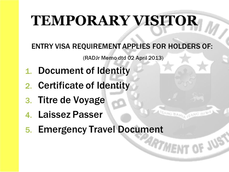 ENTRY VISA REQUIREMENT APPLIES FOR HOLDERS OF: (RADJr Memo dtd 02 April 2013) 1.
