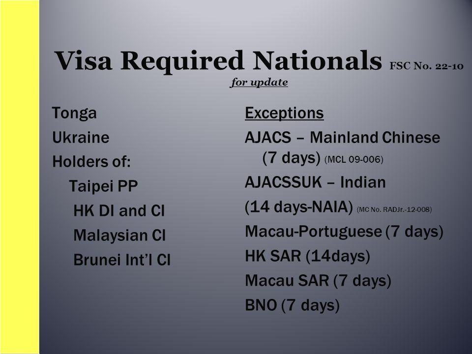 Tonga Ukraine Holders of: Taipei PP HK DI and CI Malaysian CI Brunei Int'l CI Exceptions AJACS – Mainland Chinese (7 days) (MCL 09-006) AJACSSUK – Indian (14 days-NAIA) (MC No.