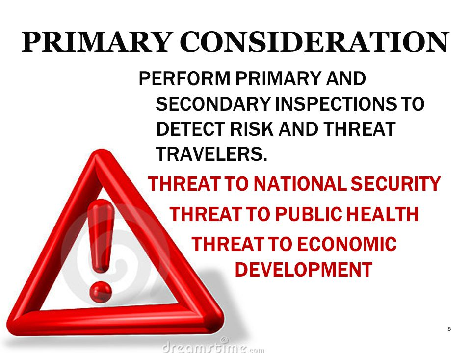 PERFORM PRIMARY AND SECONDARY INSPECTIONS TO DETECT RISK AND THREAT TRAVELERS.