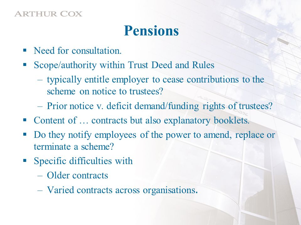 Pensions  Need for consultation.