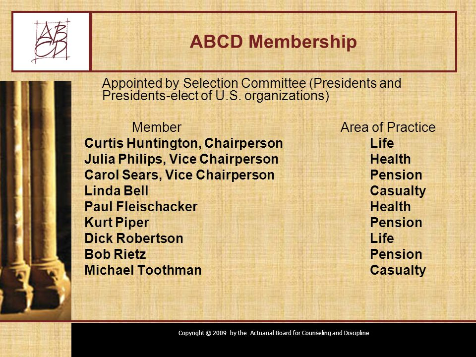 Copyright © 2009 by the Actuarial Board for Counseling and Discipline ABCD Membership Appointed by Selection Committee (Presidents and Presidents-elect of U.S.