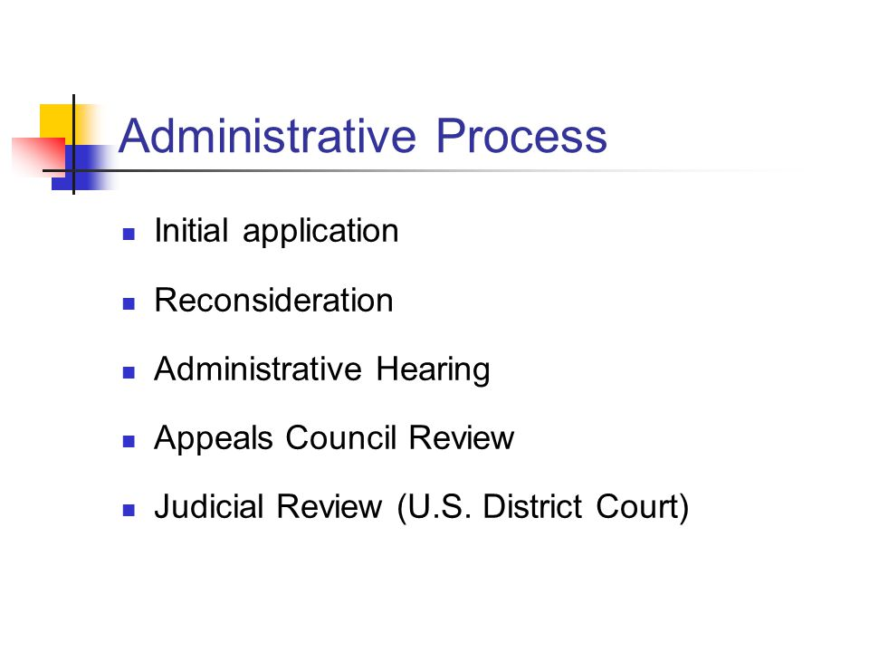 Administrative Process Initial application Reconsideration Administrative Hearing Appeals Council Review Judicial Review (U.S.