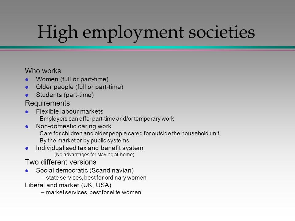 High employment societies Who works l Women (full or part-time) l Older people (full or part-time) l Students (part-time) Requirements l Flexible labour markets Employers can offer part-time and/or temporary work l Non-domestic caring work Care for children and older people cared for outside the household unit By the market or by public systems l Individualised tax and benefit system (No advantages for staying at home) Two different versions l Social democratic (Scandinavian) – state services, best for ordinary women Liberal and market (UK, USA) – market services, best for elite women