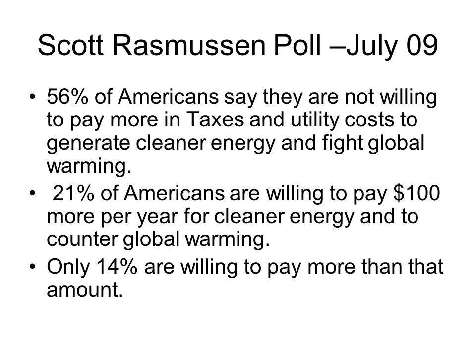 Rasmussen Reports 52% of all adults say it is more important to keep the cost of energy as low as possible than it is to develop clean, environmentally friendly sources of energy 63% rate creating jobs as more important than taking steps to stop global warming In May, only 24% of voters could correctly identify the Cap And Trade plan as something that deals with environmental issues.
