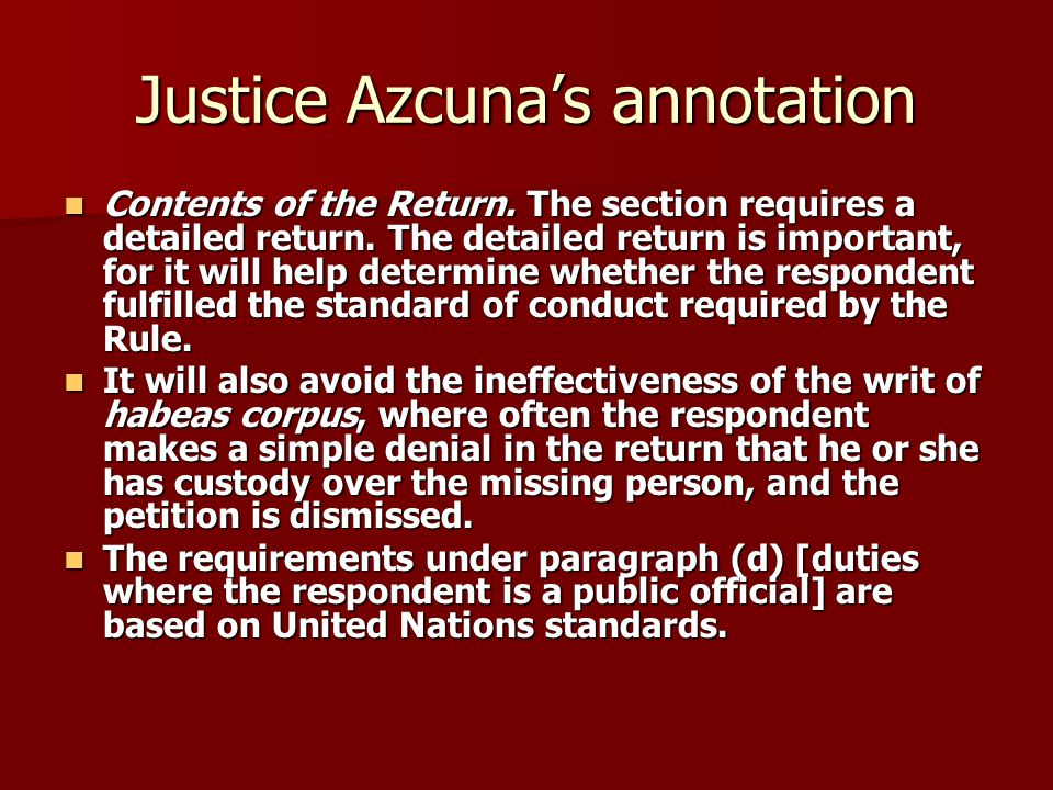 Justice Azcuna's annotation Contents of the Return.