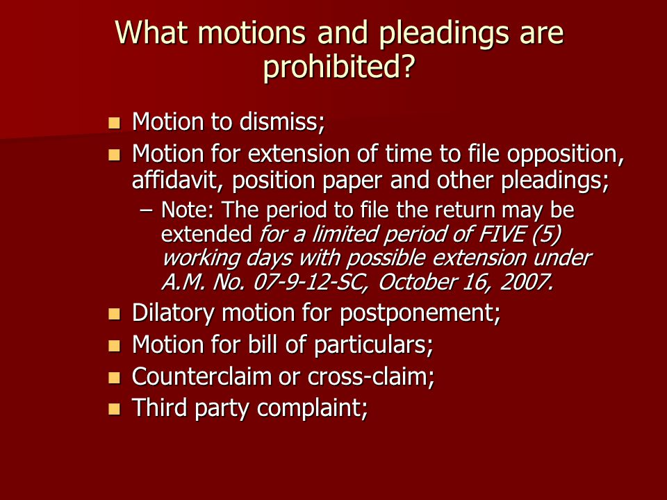 What motions and pleadings are prohibited.