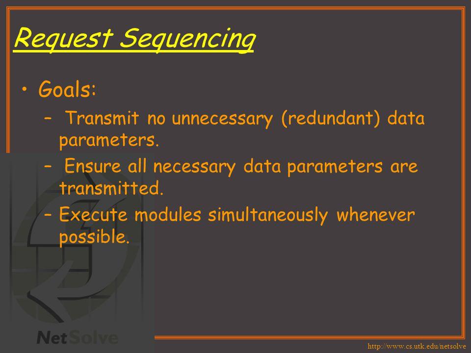 http://www.cs.utk.edu/netsolve Request Sequencing Goals: – Transmit no unnecessary (redundant) data parameters.