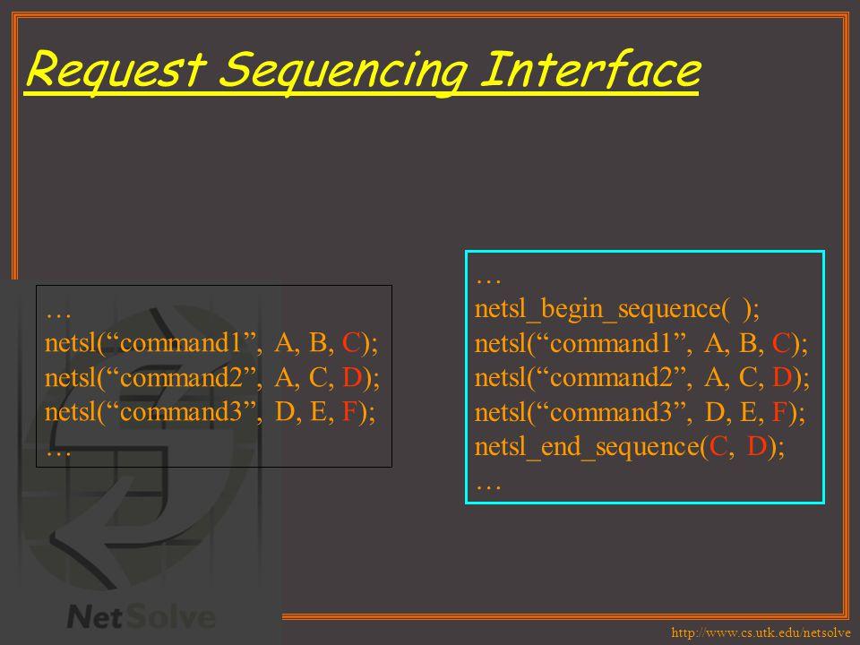 http://www.cs.utk.edu/netsolve Request Sequencing Interface … netsl( command1 , A, B, C); netsl( command2 , A, C, D); netsl( command3 , D, E, F); … netsl_begin_sequence( ); netsl( command1 , A, B, C); netsl( command2 , A, C, D); netsl( command3 , D, E, F); netsl_end_sequence(C, D); …