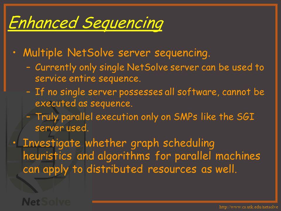 http://www.cs.utk.edu/netsolve Enhanced Sequencing Multiple NetSolve server sequencing.